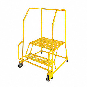 "2-Step Tilt and Roll Ladder, Expanded Metal Step Tread, 49"" Overall Height, 450 lb. Load Capacity"