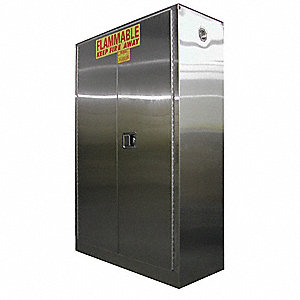 "43"" x 18"" x 67"" Stainless Steel Flammable Liquid Safety Cabinet with Self-Closing Doors, Stainless S"