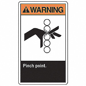 "Keep Hands Clear, Warning, Vinyl, 10"" x 7"", Adhesive Surface, Not Retroreflective"