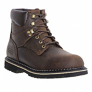 "6""H Men's Work Boots, Plain Toe Type, Leather Upper Material, Dark Brown, Size 10"