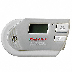 Carbon Monoxide and Gas Alarm with 85dB @ 10 ft., Horn Audible Alert&#x3b; 120V AC