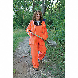 "Men's Hi-Visibility Orange PVC 2-Piece Rainsuit, Size: L, Fits Chest Size: 44"" to 46"""