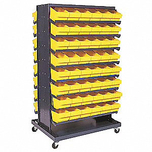 "Steel Mobile Pick Rack with 96 Bins, 36""W x 24""D x 60""H, Load Capacity: 800 lb., Gray"