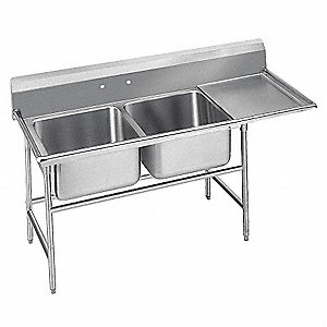 Stainless Steel Scullery Sink with Right Drain Board, Without Faucet, 18 Gauge, Floor Mounting Type