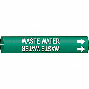 Pipe Marker,Waste Water,Gn,3/4to1-3/8 In