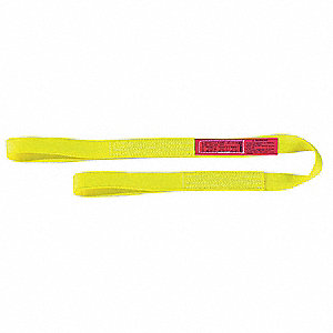 6 ft. Light-Duty Nylon Flat Eye and Eye Web Sling with 1200 lb. Vertical Hitch Capacity, Yellow