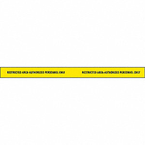 "Barricade Tape, Yellow/Black, 2"" x 180 ft., Restricted Area Authorized Personnel Only"