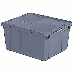 "Attached Lid Container, Gray, 12-1/2""H x 23-7/8""L x 19-1/2""W, 1EA"