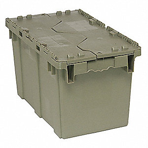 "Attached Lid Container, Gray, 11-7/8""H x 22-1/2""L x 12-13/16""W, 1EA"