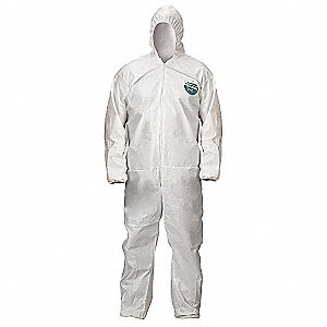 Hooded Disposable Coveralls with Elastic Cuff, White, 2X, MicroMax® NS