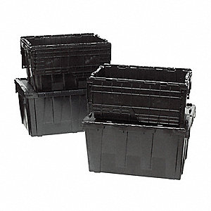 "23-3/4""L x 19-1/2""W x 12-3/8""H High Density Polyethylene Attached Lid Container, Black"