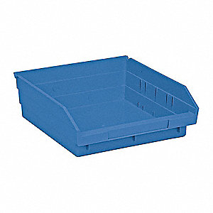 "Shelf Bin, Blue, 4""H x 11-5/8""L x 11-1/8""W, 1EA"
