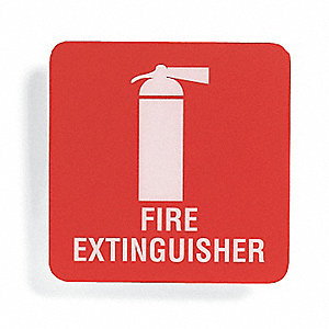 Fire Extinguisher Sign,5-1/2 x 5-1/2In
