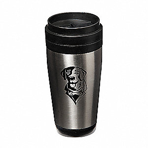 Mug, Lab Dog, SS, 15oz, Black/Silver