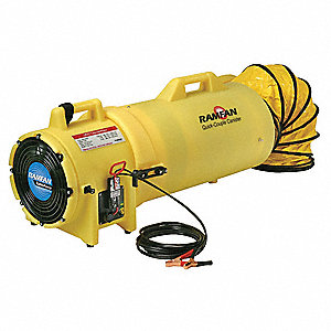 Axial Confined Space Fan, 1/4 HP HP, 12 VDC Voltage, 3200 rpm Blower/Fan Speed