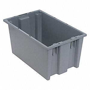 "Stack and Nest Container, Gray, 9""H x 18""L x 11""W, 1EA"