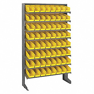 "Steel Pick Rack with 64 Bins, 36""W x 12""D x 60""H, Load Capacity: 400 lb., Gray"