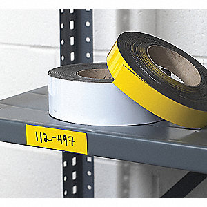 "Magnetic Shelf Label, Yellow, 50 ft.L x 2""W, 1 EA"