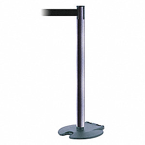 Barrier Post w/ Belt,39 In. H,Cast Iron