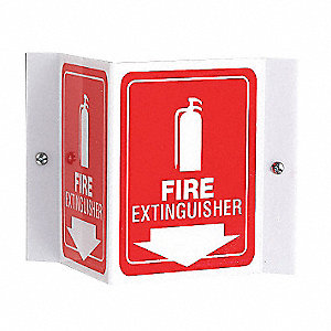 Fire Extinguisher Sign,6 x 8-1/2In,WHT/R
