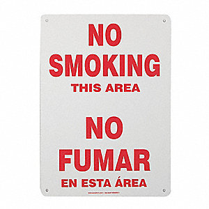No Smoking Sign,14 x 10In,R/WHT,PLSTC