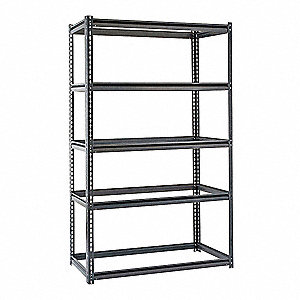 "60"" x 36"" x 72"" Steel Boltless Shelving w/out Decking, Gray&#x3b; Number of Shelves: 5"
