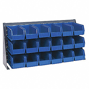 "Louvered Bench Rack,19"" H,18 Bins,Blue"