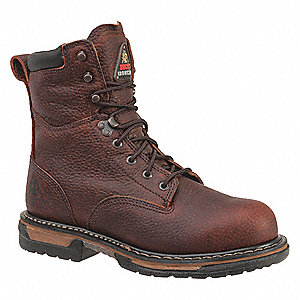 "8""H Men's Work Boots, Steel Toe Type, Leather Upper Material, Brown, Size 11W"