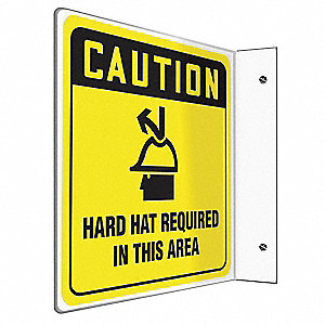 Caution Sign,8 x 8In,BK/YEL,PS,ENG