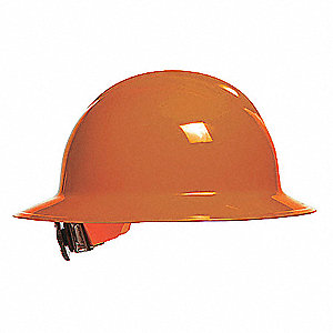 Full Brim Hard Hat, 6 pt. Ratchet Suspension, Orange, Hat Size: 6 1/2 to 8