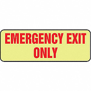 Exit Sign,3-1/2 x 10In,R/Glow,ENG,Text