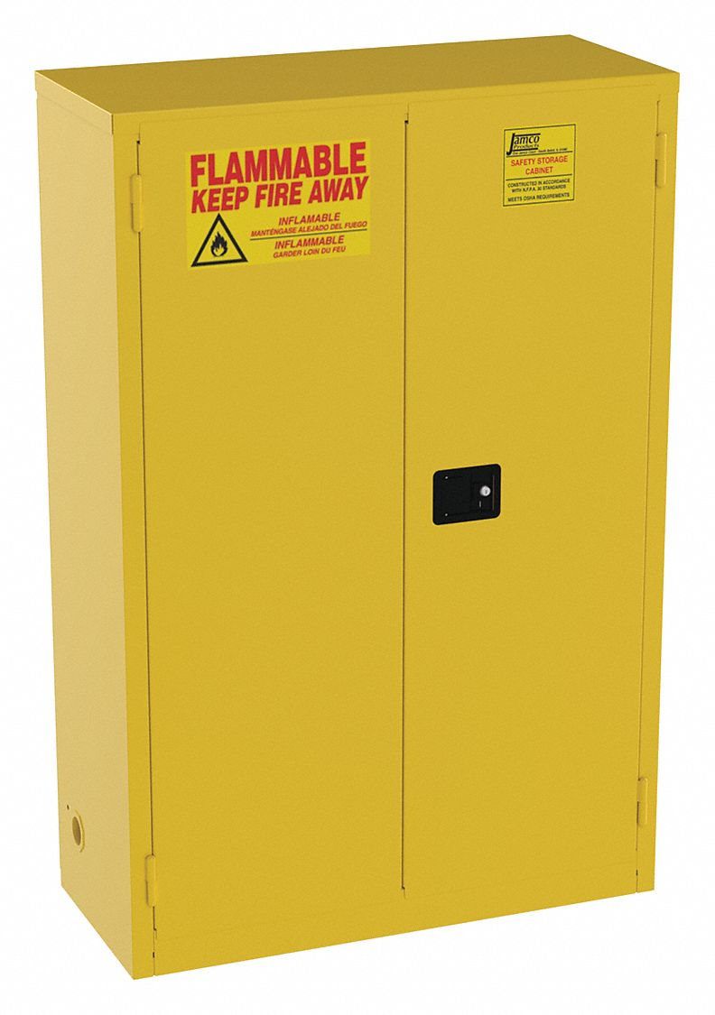 45 gal Flammable Cabinet,  Manual Safety Cabinet Door Type,  65 in Height,  43 in Width