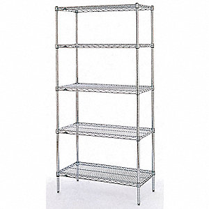 "Starter Wire Shelving Unit, 48""W x 24""D x 63""H, 4 Shelves, Stainless Steel Finish, Silver"