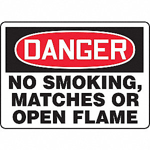 "No Smoking, Danger, Plastic, 7"" x 10"", With Mounting Holes, Not Retroreflective"