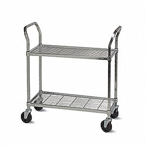 "48""L x 18""W x 51""H Zinc Plated Steel Wire Cart, 800 lb. Load Capacity"