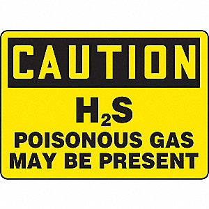 "Chemical, Gas or Hazardous Materials, Caution, Plastic, 10"" x 14"", With Mounting Holes"