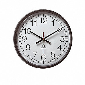 "13-1/8"" Wall Mount Contemporary Face Style Clock, Black"