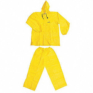 "Men's Yellow Polypropylene 2-Piece Rainsuit with Hood, Size: XL, Fits Chest Size: 48"" to 50"""