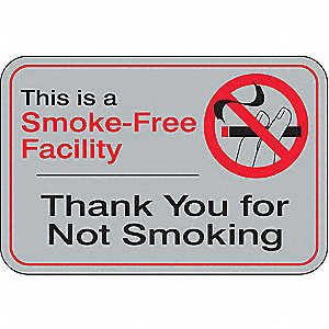 No Smoking Sign,6 x 9In,R and BK/GRA,ENG