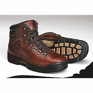 "6""H Men's Work Boots, Plain Toe Type, Leather Upper Material, Deer Brown Soggy, Size 8"