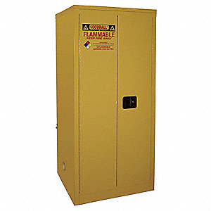 "31"" x 31"" x 65"" Galvanized Steel Flammable Liquid Safety Cabinet with Manual Doors, Red"