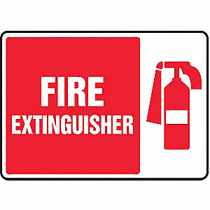 Fire Extinguisher Sign,10 x 14In,WHT/R