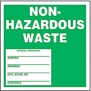Non-Hazardous Waste Label,Wht/Grn,PK100