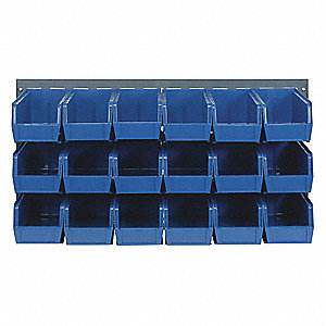 "Louvered Panel with 18 Bins, 36""W x 1/4""D x 19""H, Number of Sides: 1, 175 lb. Load Capacity"