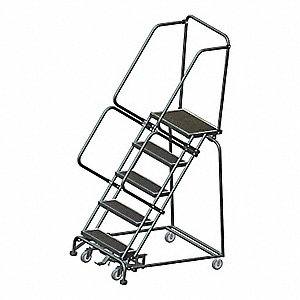 "5-Step Rolling Ladder, Abrasive Mat Step Tread, 83"" Overall Height, 450 lb. Load Capacity"