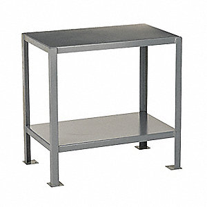 "Fixed Work Table,Steel,36"" W,24"" D"