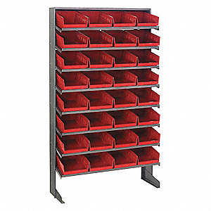 "36"" x 12"" x 60"" Single Sided Pick Rack, Gray Rack/Red Bins"
