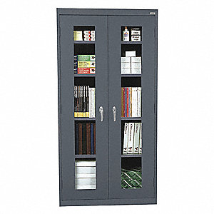 "Commercial Storage Cabinet, Gray, 72"" H X 36"" W X 12"" D, Assembled"
