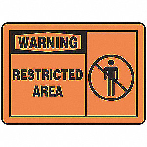 Warning Sign,10 x 14In,BK/ORN,PLSTC,ENG