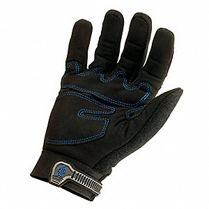 Cold Protection Gloves, Hipora Lining, Nylon/Spandex Cuff, Black, L, PR 1